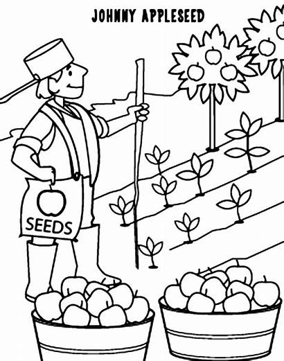 Appleseed Johnny Coloring Printable Apple Sheets Story