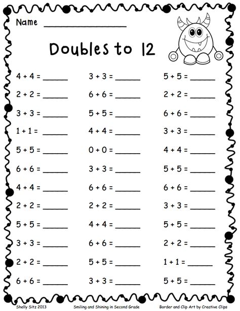 doubles   teaching math  math worksheets