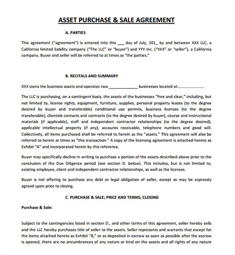 asset purchase agreement template 9 sle asset purchase agreements sle templates