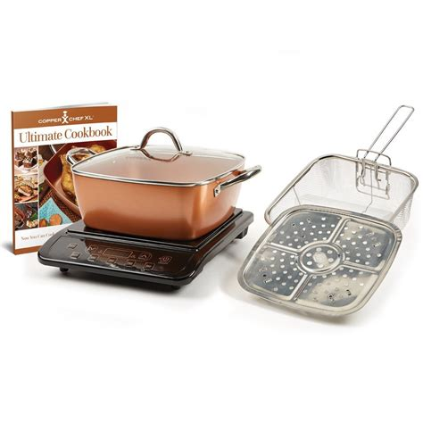 copper chef xl  casserole pan  pc set  induction cooktop plate