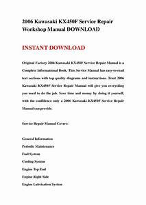 2006 Kawasaki Kx450f Service Repair Workshop Manual Download