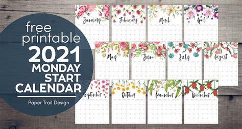 printable  floral calendar monday start paper