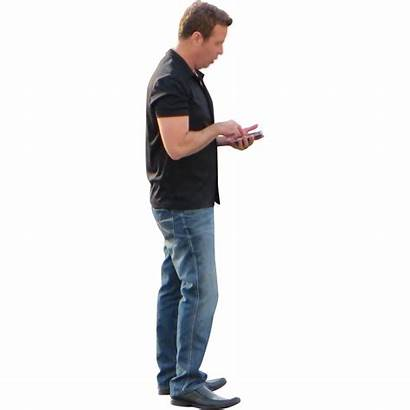 Standing Person Phone Texting Transparent Guy His