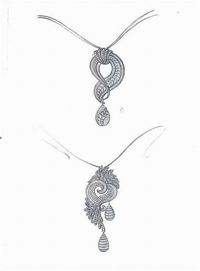 Jewelry Drawing Gold Necklace Diamond Pendent Jewellery