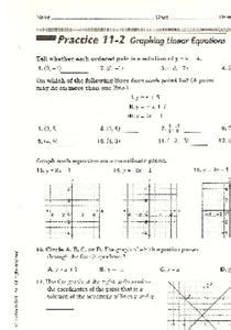 graphing linear equations worksheet for 9th grade lesson planet