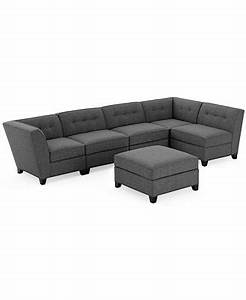 Harper fabric 6 piece modular sectional sofa with ottoman for Harper sectional sofa macy s