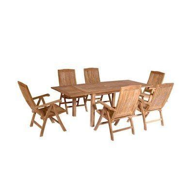 bahama 7 rectangular extension table set with katana recliner folding armchair by