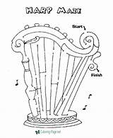 Maze Harp Coloring Printable Mazes Template Channel Worksheets Activity Held Irish Pals sketch template