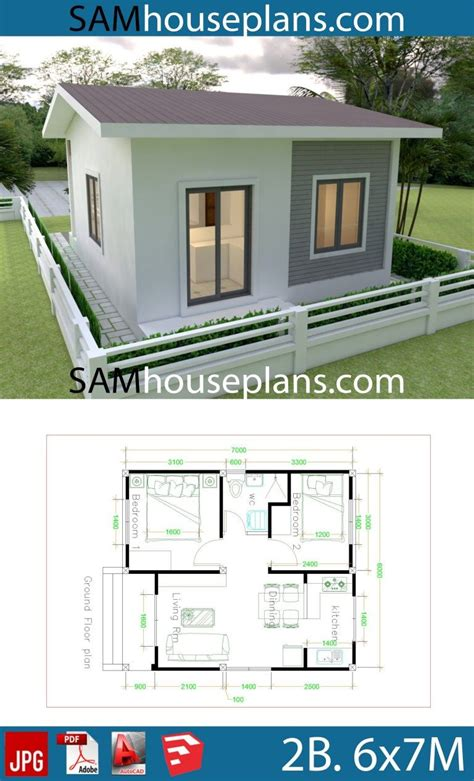 House Plans 6x7m with 2 bedrooms Bungalow house design
