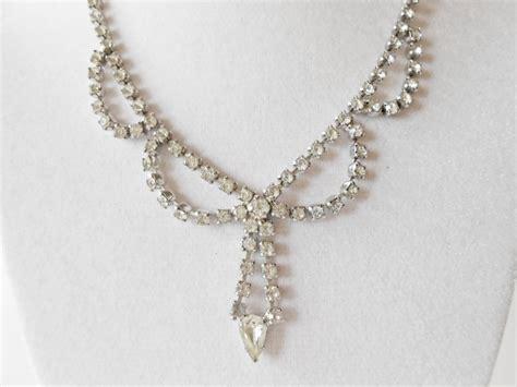 Rhinestone Necklace Vintage 1940s Jewelry By
