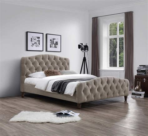 Taupe Fabric Bed Nj Andra  Platform Beds