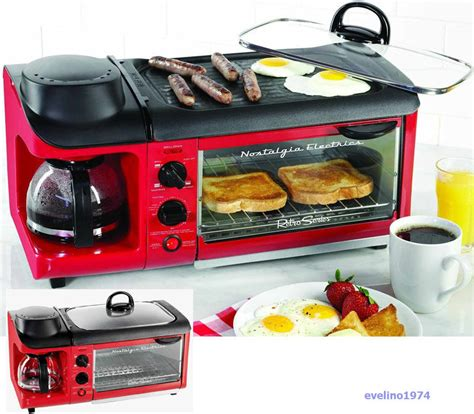 3 in 1 Nostalgia Electrics Breakfast Station,Toaster Oven,Pan Grill,Coffee Maker   eBay