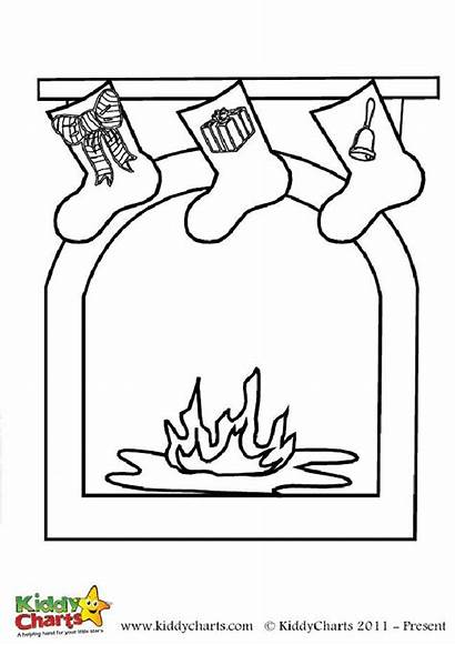 Fireplace Coloring Christmas Colouring Pages Stockings Sheets