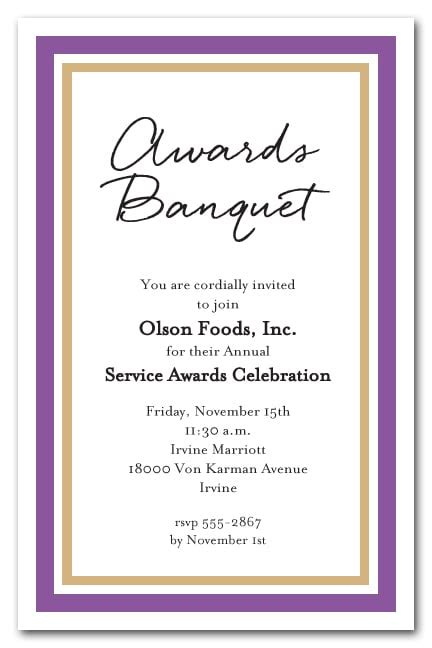 purple  gold border business party invitations