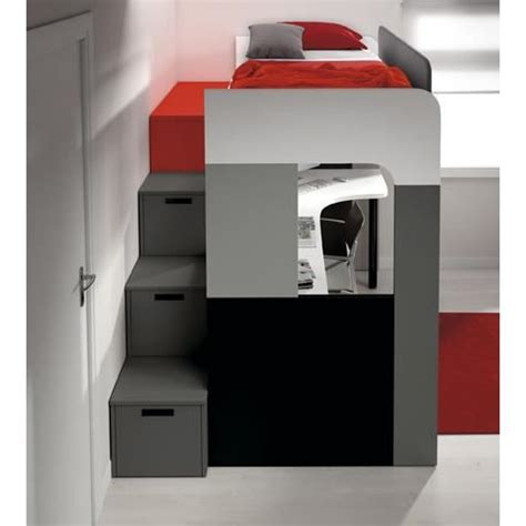 porte manteau bureau lit mezzanine pong avec bureau et bibliothèque achat