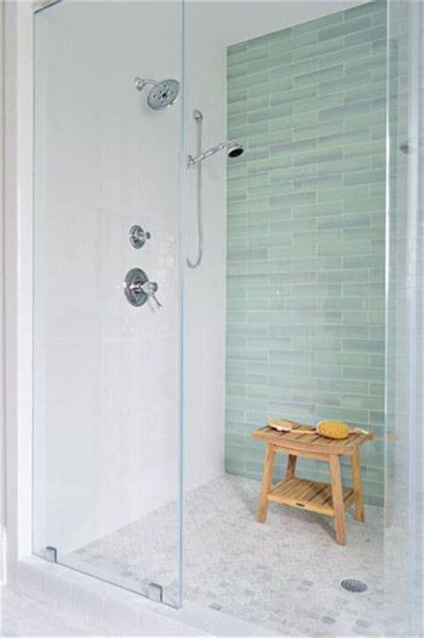 sea green glass tile white subway tile frameless shower