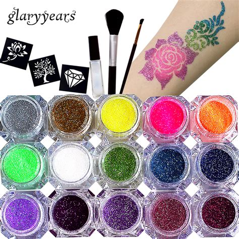 set  colors glitter powder pigment body tattoo paint