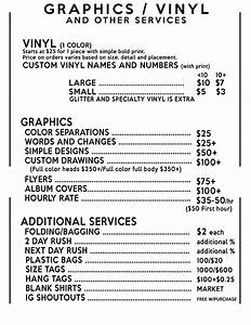 pricing creative clothing With vinyl lettering pricing