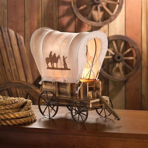 Western Wagon Lamp Table Covered Vintage Light Wood Cowboy