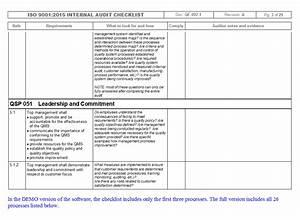 IMSXpress ISO 9001 Internal Audit Checklist - Quality ...