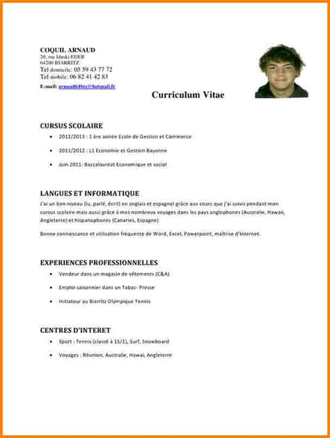 Cv Pour Emploi by Cv Word Vierge