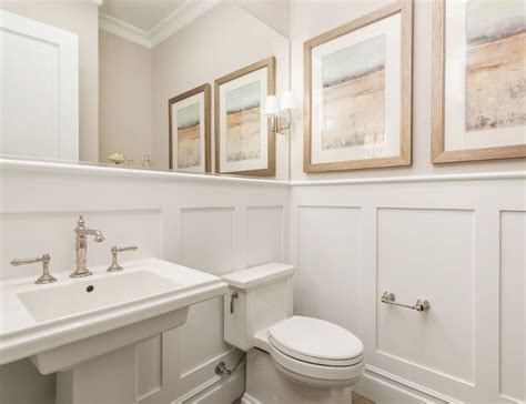 White Wainscoting Bathroom by Newly Built Htons Style Home Home Bunch Interior