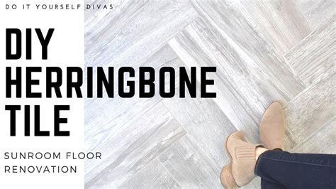 DIY Herringbone Tile Floor   Start to Finish   YouTube