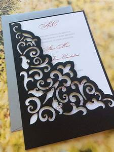 lasercut wedding invitation sleeve pocket elegant scroll With wedding invitation sleeve pocket template
