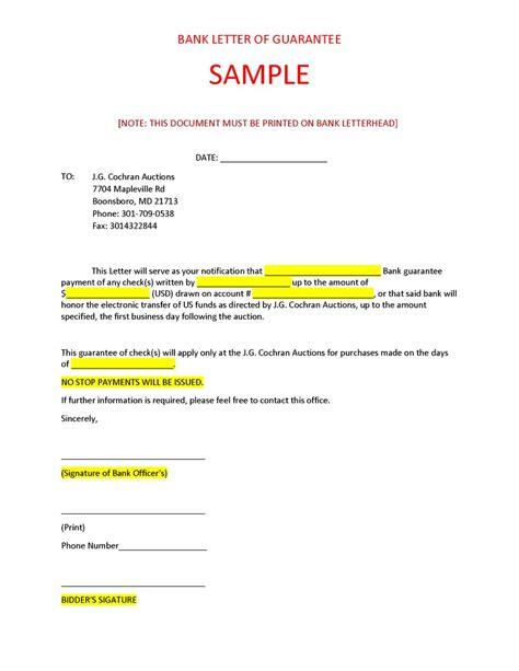 bank letter sample  cochran auctions llc