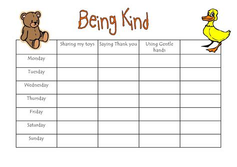 reward charts for toddlers and preschoolers 594 | being kind reward chart