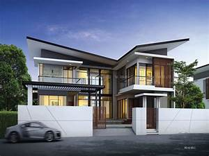 one storey modern house design modern two storey house With double story modern house plans
