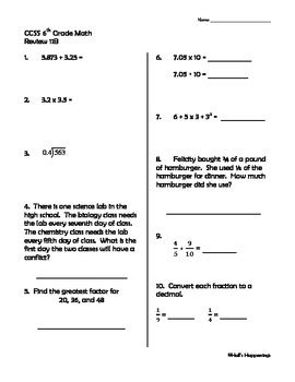 6th Grade Common Core Math Daily Review Weeks 11-15 by