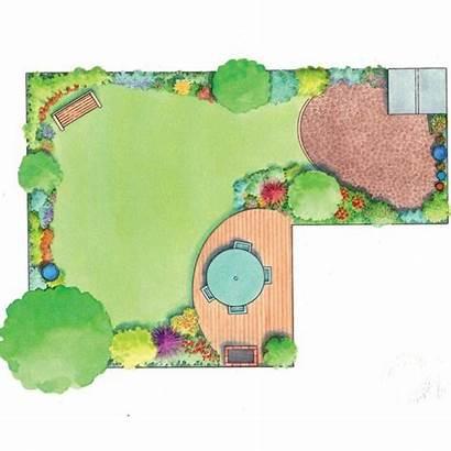 Garden Shaped Idea Layouts Gardens Lawn Bench