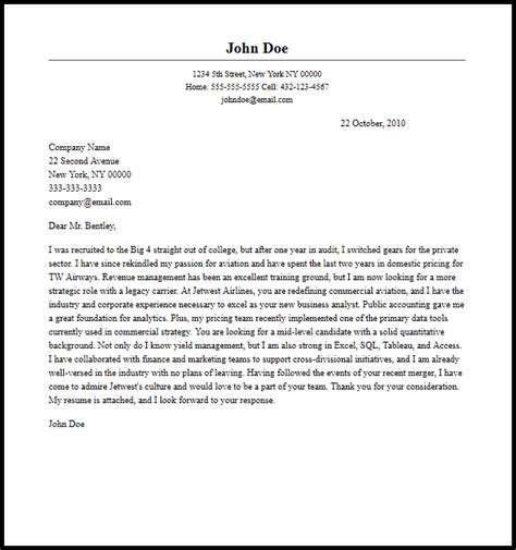 professional business analyst cover letter sample