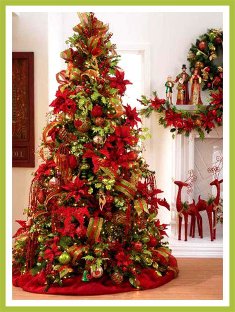 Red And Green Christmas Tree Decorating Ideas Www