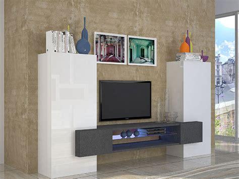 ensemble meuble tv meuble mural  colonnes blanc laque