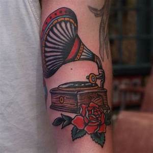 #Gramophone #tattoo from a while back. Made @kosmostattoo ...