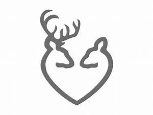 Buck and Doe Heart Craft Shape Buck and Doe Heart Wood