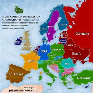 A map of Europe according to the number of people living ...