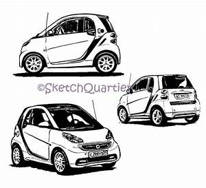 Smart Car Mercedes Hand Painted Sketch Vector Clipart Svg