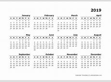 2019 Yearly Calendar Blank Minimal Design Free Printable