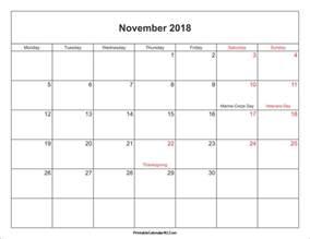 2017 2018 Calendar with Holidays Printable