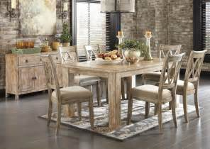 jarons mestler washed brown rectangular dining table w 6