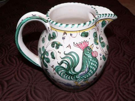 Vintage Deruta Italian Pottery Majolica Pitcher Teal ...