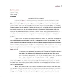 Free MLA Format Outline Template