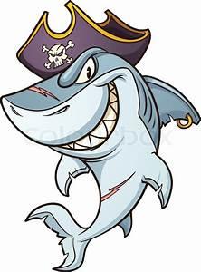 Cartoon pirate shark. Vector clip art illustration with ...