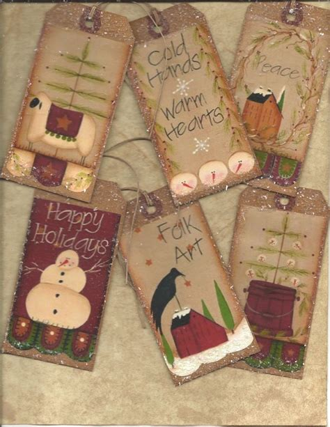 christmas primitive 12 vintage grungy tags folk hang