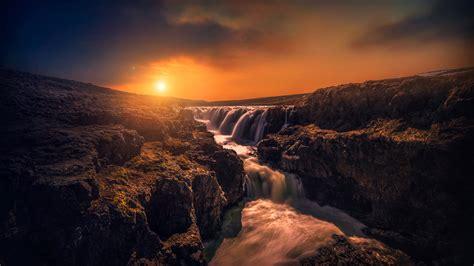 wallpaper rocks stream sunset hd  nature