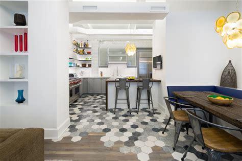 hexagon tile wood apartment