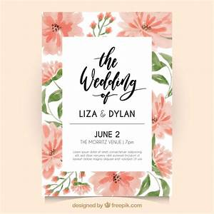 wedding invitation with watercolor flowers vector free With wedding invitation template freepik